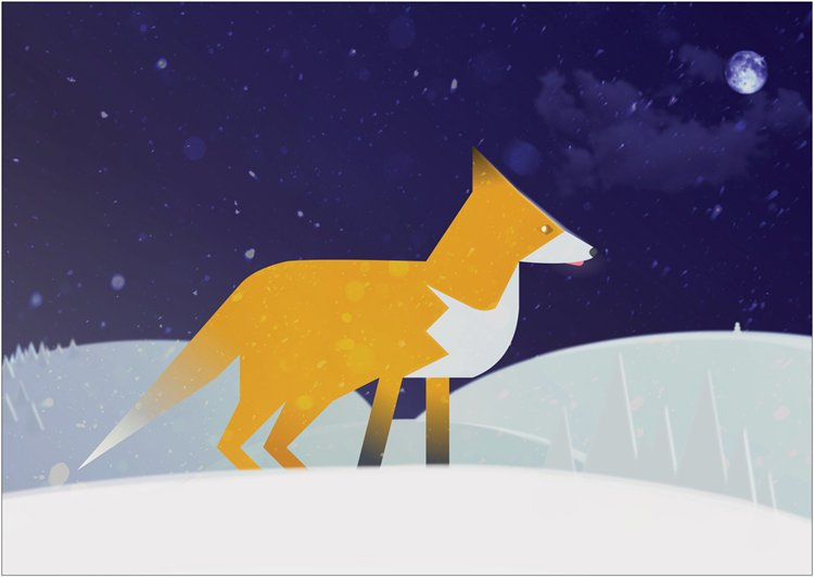 A vector fox out in the snow at night.