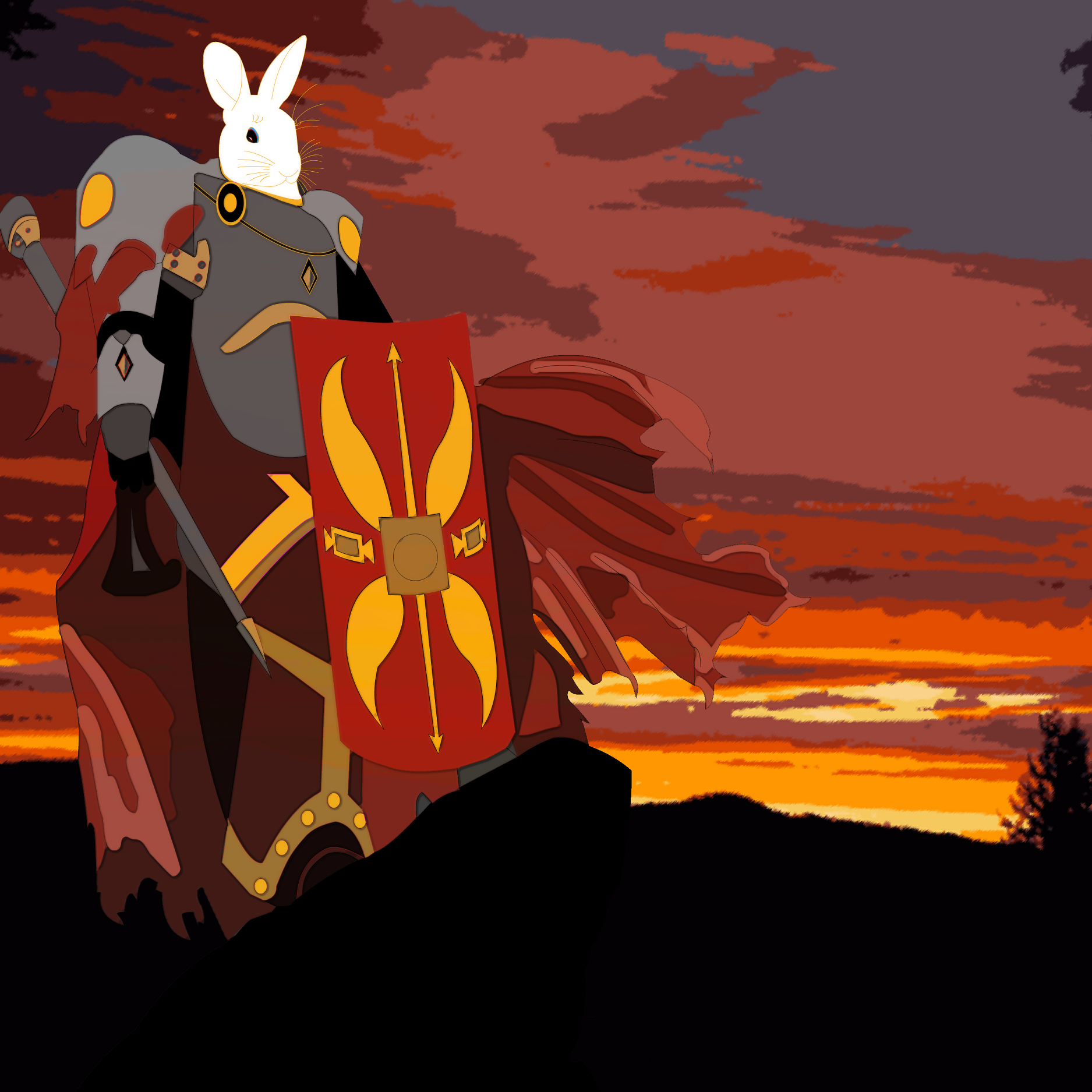 A rabbit warrior wearing Roman-style armour stands atop a cliff. Drawn in Flash/Animate.